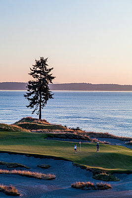 Chambers Bay golf course, site of the 2015 US Open, near Tacoma, WA on a sunny evening. - p343m1101559f by Michael Hanson