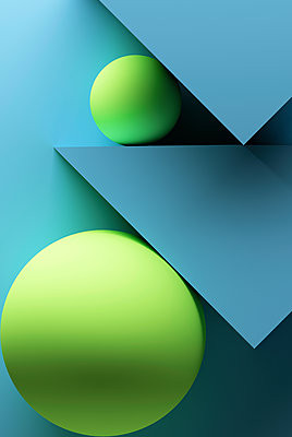 Turquoise background with geometric shapes - p300m2028938 by Dreava Bogdan