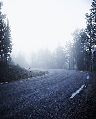 Country road in fog - p312m1229120 by Stefan Isaksson