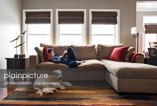 Boy reading on couch in living room with dog in the daytime. - p1166m2090651 by Cavan Images
