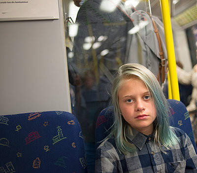 Girl travelling by bus - p312m1113707f by Johan Willner