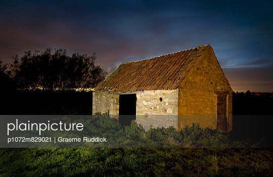 Barn at Night - p1072m829021 by Graeme Ruddick