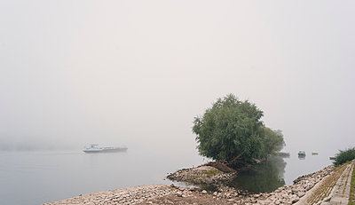 Rhine river in the fog - p1088m1586599 by Martin Benner