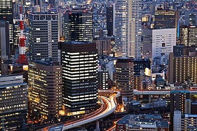 Buildings illuminated at dusk; Kyoto, Japan - p442m1085040f by Alexander Macfarlane