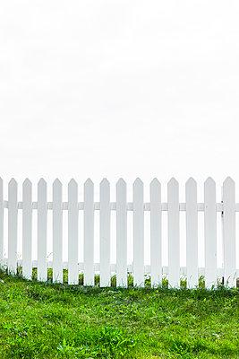 Weißer Gartenzaun - p248m1462781 von BY