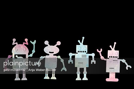 4 Robotter aus Papier - p451m2065192 von Anja Weber-Decker