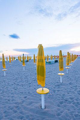 Italy, Friuli-Venezia Giulia, closed beach umbrellas on the beach of Grado - p300m975443f by Karl Thomas
