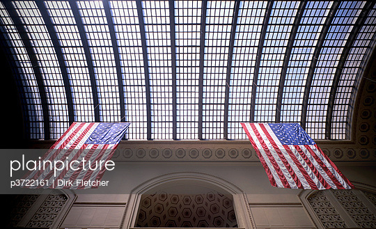 Flags in Union Station, Chicago, Illinois