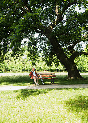 Senior woman sitting on park bench in park - p429m942739f by Uwe Umstaetter