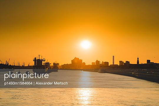 Blick auf Norderelbe, Hafencity und Elbphilharmonie von Freihafenelbbrücke, Hamburg - p1493m1584664 von Alexander Mertsch