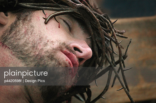 Jesus wearing crown of thorns