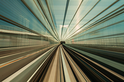 High speed train moving in city - p623m2123112 by Pablo Camacho