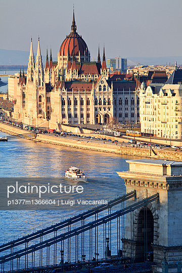 View from Buda Castle over the Danube river, Chain Bridge (Szechenyl Lanchid) and Parliament - p1377m1366604 by Luigi Vaccarella