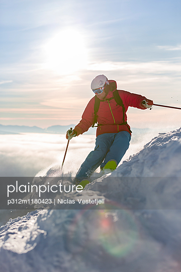 Man skiing - p312m1180423 by Niclas Vestefjell