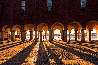 Arched columns of City Hall in Stockholm, Sweden - p352m1536577 by Calle Artmark