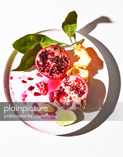 Fruits on plate - p1397m2054794 by David Prince