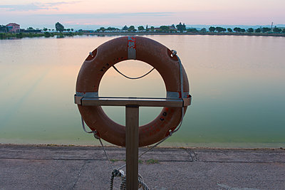 Lifesaver on the lake at dawn - p300m2043113 by skabarcat