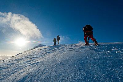 Walkers climbing the snowy slopes of Sgorr Dhearg near Glen Coe; Highlands, Scotland - p442m999933 by Ian Cumming