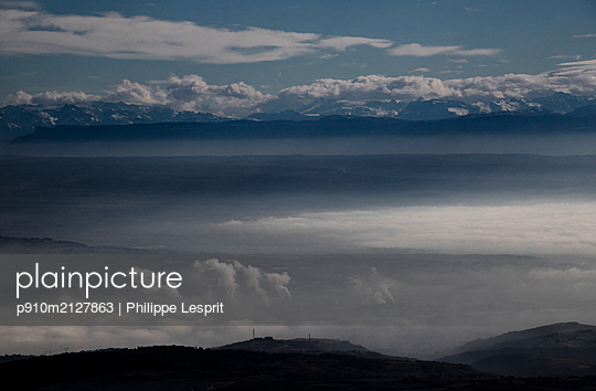 Isère valley with clouds and fog - p910m2127863 by Philippe Lesprit