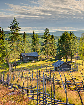 Landscape with wooden house - p312m1472669 by Mikael Svensson