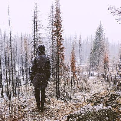 Woman standing in forest in winter, Ural, Sverdlovsk, Russia - p429m2068464 by Aliyev Alexei Sergeevich