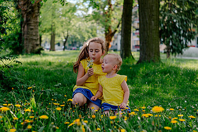 Two sisters sitting together on a meadow blowing blowballs - p300m2121697 by Oxana Guryanova