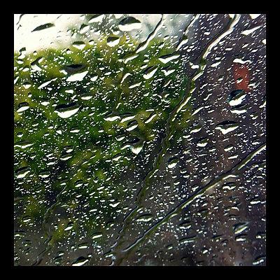 Raindrops on window pane - p300m1008984f by Fotomaschinist