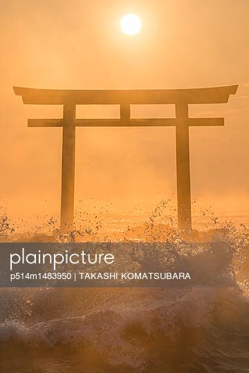 Sunrise over shrine gate - p514m1483950 by TAKASHI KOMATSUBARA