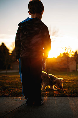 Rear view of boy with Yorkshire Terrier in park during sunset - p1166m1403022 by Cavan Images