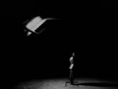 A Naked Woman Standing Alone In The Light From A Skylight    - p847m1102452 by Johan Strindberg
