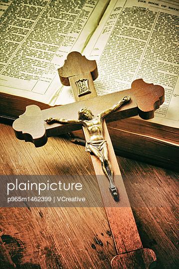 Catholic crucifix and Bible