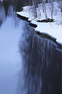 Birken spiegeln sich im Wasser - p235m885626 von KuS