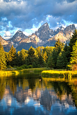 Water reflection of the Teton Range, taken from the end Schwabacher Road, Grand Teton National Park, Wyoming, United States of America, North America - p871m986933 by Richard Maschmeyer