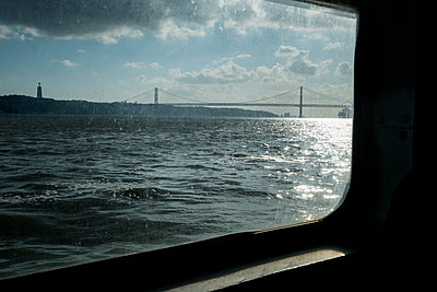 View of suspension bridge in Lisbon - p1146m1193338 by Stephanie Uhlenbrock