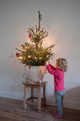 Child decorating a christmas tree - p896m959439 by Sabine Joosten