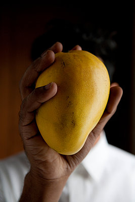 Man holding fresh mango fruit - p817m1589119 by Daniel K Schweitzer