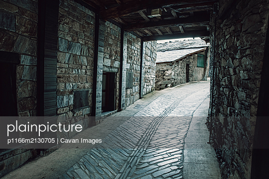 Streets of Santiago de Pe–alba, an old stone village in the mountains - p1166m2130705 by Cavan Images