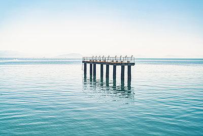 Landing platform of Corfu airport in Mediterranean sea, Corfu, Kerkira, Greece - p429m2075347 by Tamboly