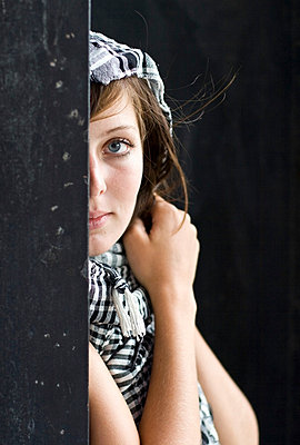 Young woman with scarf - p7550106 by Henrik Pfeifer