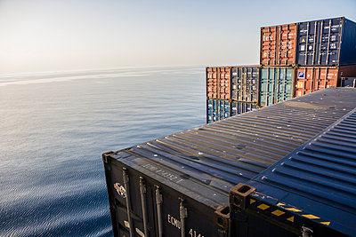 Container on container ship - p1157m1041449 by Klaus Nather