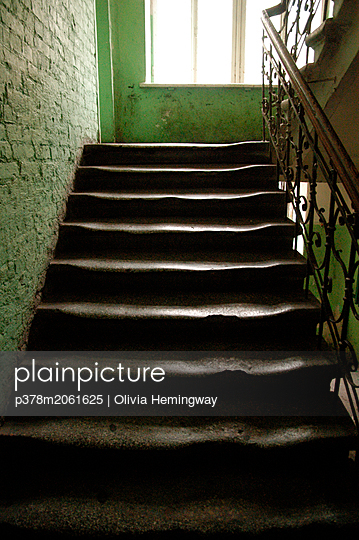 Old worn stone staircase. Lithuania - p378m2061625 by Olivia Hemingway