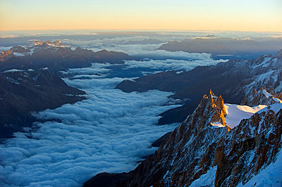 Europe, France, The Alps, Chamonix, Mont Blanc, Aiguille du Midi cable car station - p6521942 by Christian Kober