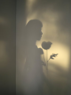 Silhouette of girl with flower - p945m1161589 by aurelia frey