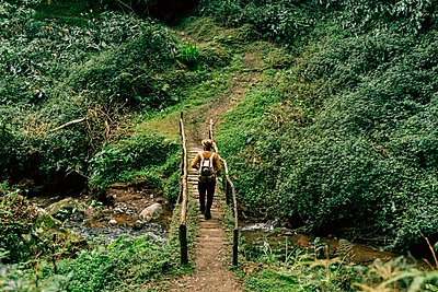 Rear view of man hiking on a remote trail on Sao Miguel Island, Azores, Portugal - p300m2197233 by VITTA GALLERY