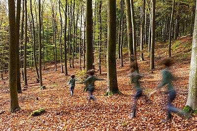 Kinder laufen durch den Wald - p305m1586703 von Dirk Morla
