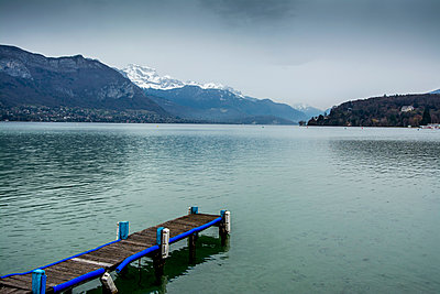 Jetty overlooking Annecy lake, Alpes, France - p813m1122825 by B.Jaubert