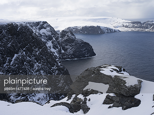 Snow-capped rocky coast at the North Cape - p945m1477438 by aurelia frey