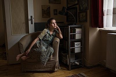 Girl Waiting in Chair - p1503m2015945 by Deb Schwedhelm