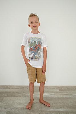 Blonde boy in shorts - p1363m2178816 by Valery Skurydin