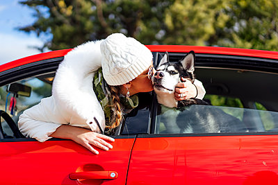 Woman with her Siberian husky dog peek out of car windows and sucks with tongue. - p1166m2148762 by Cavan Images